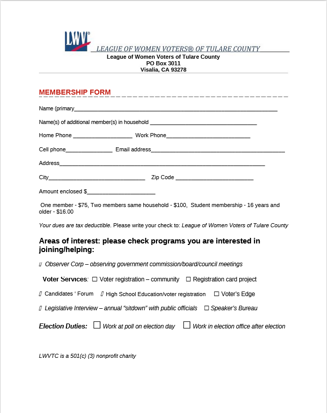 LWV Tulare County Membership Form