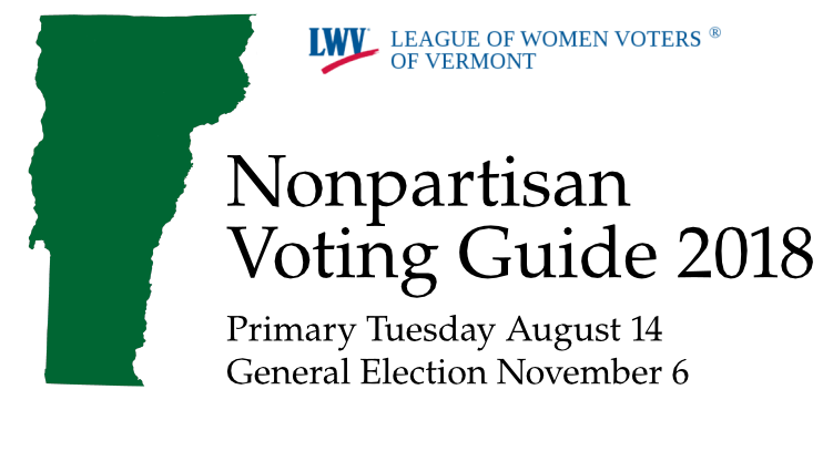 Nonpartisan Voting Guide next to outline of Vermont State in green