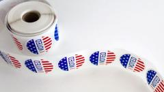 "Photo a roll of ""I voted"" stickers"
