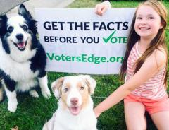 voter's edge lawn signs wth dogs