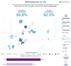 Image of Connecticut Census Self-Response Map for July 22 2020