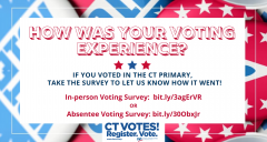 CT Primary August 2020 Voter Survey Website Banner