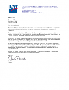 March 17 2020 Letter to Governor Lamont regarding Absentee Ballots as response to COVID19