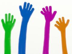 multi-colored waving hands