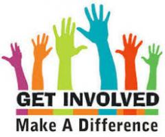 "Graphic of hands raised with the words ""Get Involved:  Make a Difference"" below"