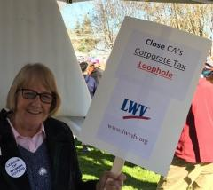 Martha Goralka, LWV Diablo Valley, with campaign sign
