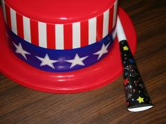 patriotic hat, New Year's noisemaker