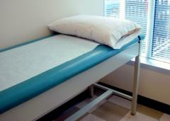 examination table with pillow