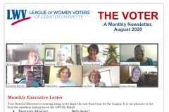 Above the fold of our newsletter, with images of board members and masthead.