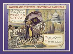 Cover of the 100th centennial calendar - image of a woman riding on a horse near the Capitol building