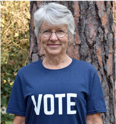 Susan Hales wearing Vote shirt
