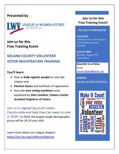 Solano County Voter REgistration Training August 19 2019