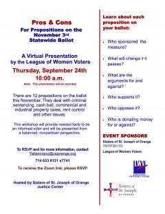 Pros & Cons of CA State Ballot Measures on September 24 at 10:00 AM