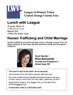 Lunch with League Human Trafficking and Child Marriage