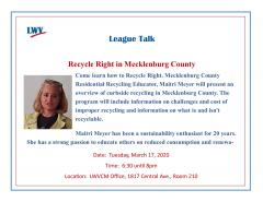 Recycle Right In Mecklenburg County - League Talk