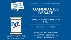 LWV New Canaan Candidates Debate Oct 19 Event Image