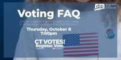 Voting FAQs with LWVCT and CT Young Professionals Event Flyer Oct 8
