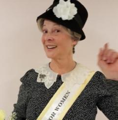 Photo of  League of Women Voters of Ridgefield present historical Interpreter Pat Jordan as Carrie Chapman Cat