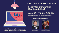 Graphic for LWVCS Annual Meeting on June 18, 2020