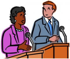 clip art of black woman and blond man at podiums