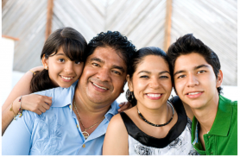 Hispanic family with young girl, father, mother, teen boy