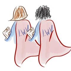 illustration, LWV superheroes with clipboards