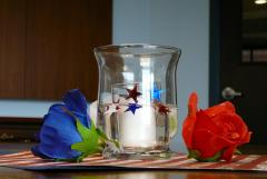 red & blue flowers, candle holder with blue stars