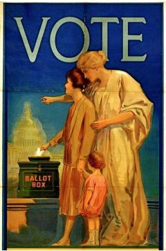 Poster with woman using ballot box, 1920s, large word VOTE at top