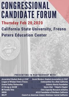 Congressional Candidate forum at Fresno State, 5-8 pm Feb. 20, 2020 in Peters Auditorium at the Student Rec. center