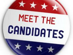 Meet the Candidates Button in Red White and Blue with stars