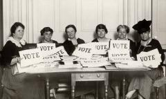 Early League members pose with 'Vote' signs