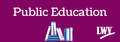 Public education graphic with books  and League Logo