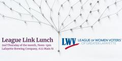 A metal peg, connected to a network of other pegs by string, with information about the League Link Lunch in colored font.