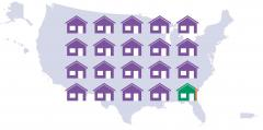 illustration, houses across US map