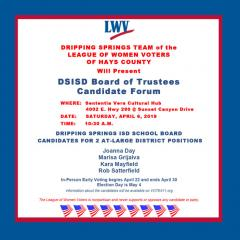 DSISD School Board Candidates Forum poster for April 6th event
