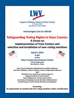 """Flyer """"Safeguarding Voting Rights in Hays County"""" April 4, 6pm"""