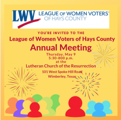 graphic LWV Annual Meeting, May 9, 5:30 pm, Lutheran Church of the Resurrection