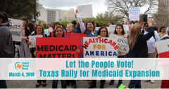 Poster for Cover Texas Now rally for constitutional amendment on health care