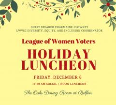 2019 League Holiday Luncheon, Dec. 6, Belfair