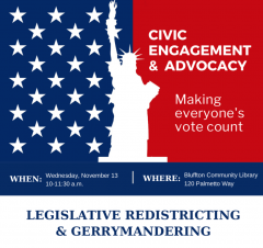 Nov. 13 Redistricting Forum, 10 am, Bluffton Library