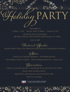 Dec. 12, 11:30-2 pm Holiday Party at Palmetto Hall
