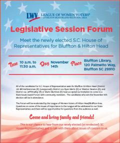 SC House Rep Forum, Nov. 14, 10 am, Bluffton Library