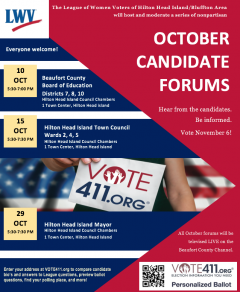 October 10, 15, 29 Candidate Forums