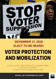 Voter Suppression Nov event flyer