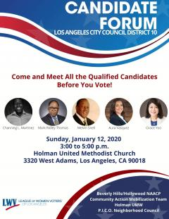 Council District 10 candidate forum flyer