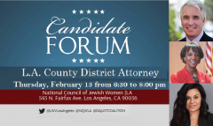 Candidate Forum flyer for DA