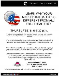 Edendale library voting info flyer