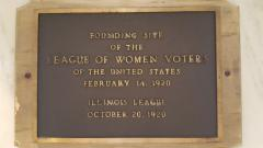 photo of plaque on the wall of location in Chicago where League was founded