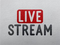 Live Stream on grey background