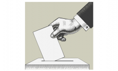 pencil drawing - hand depositing ballot in ballot box
